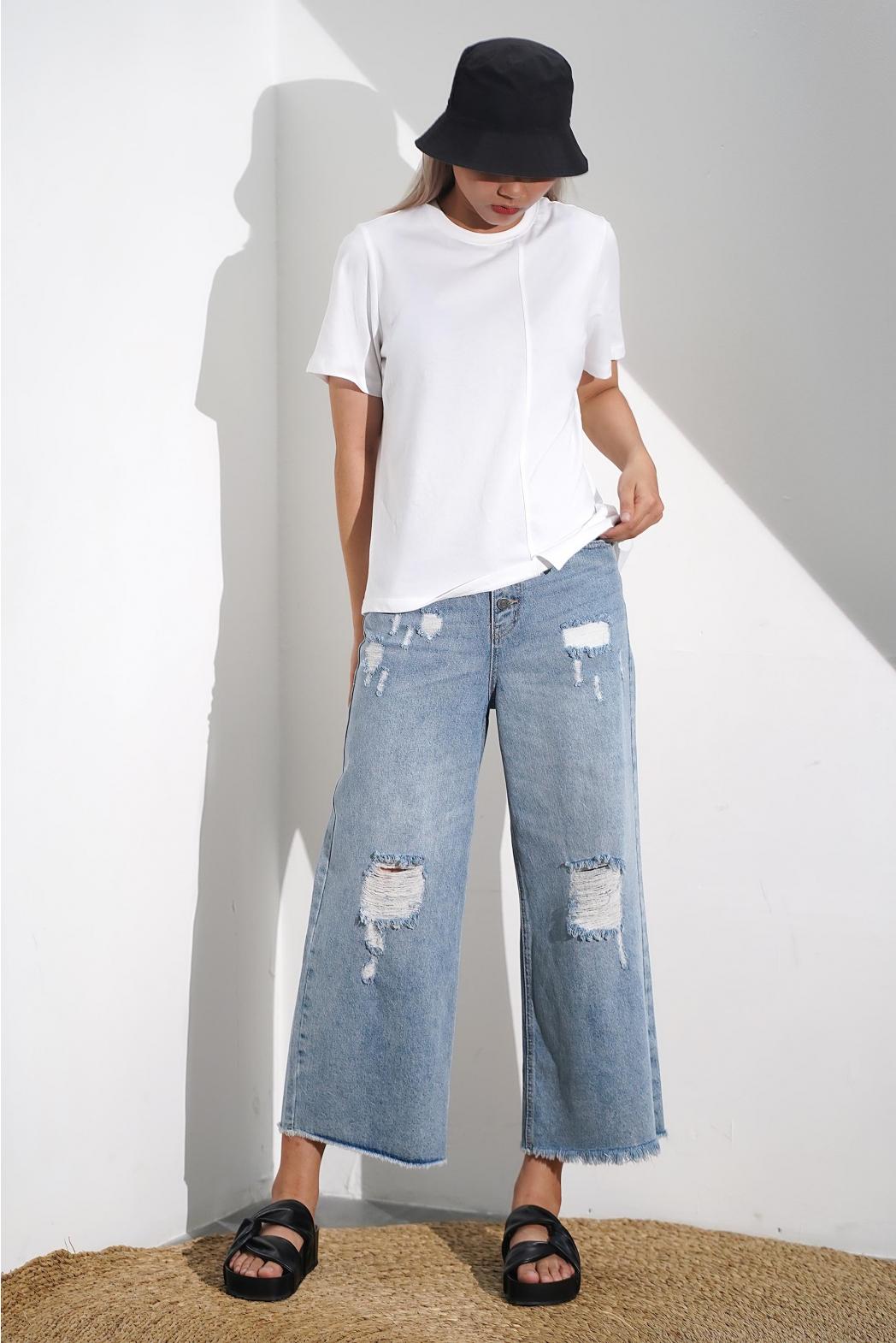Quần jean dài, rách. Cotton. STRAIGHT form - 10F20DPAW001