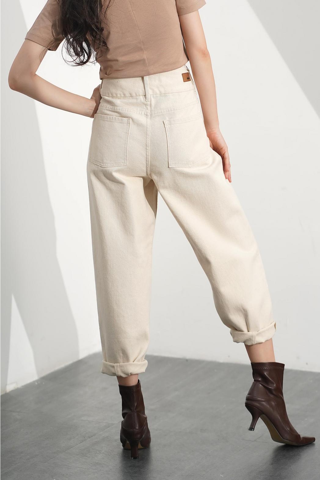 Quần Jean nữ lưng cao, xếp ly ống - 10F20DPAW011