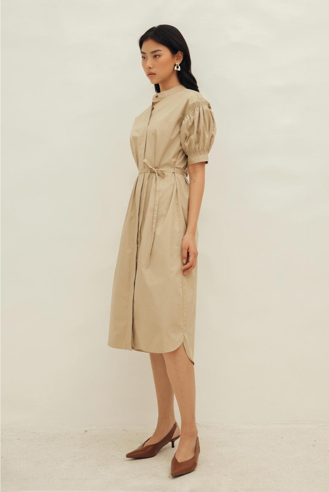 Đầm nhún tay. Cotton twill silk - 10F20DREW005