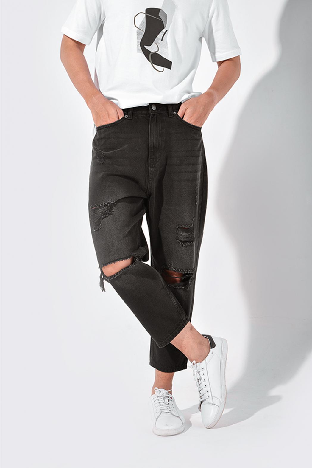 Black. Loose jeans rách DNP15-F19 - QJ228001