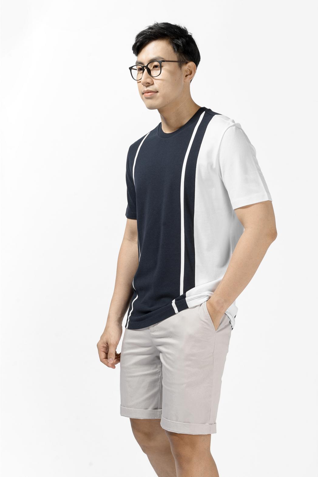 Áo thun tay ngắn phối rã in sọc. REGULAR form - 10S21TSH006