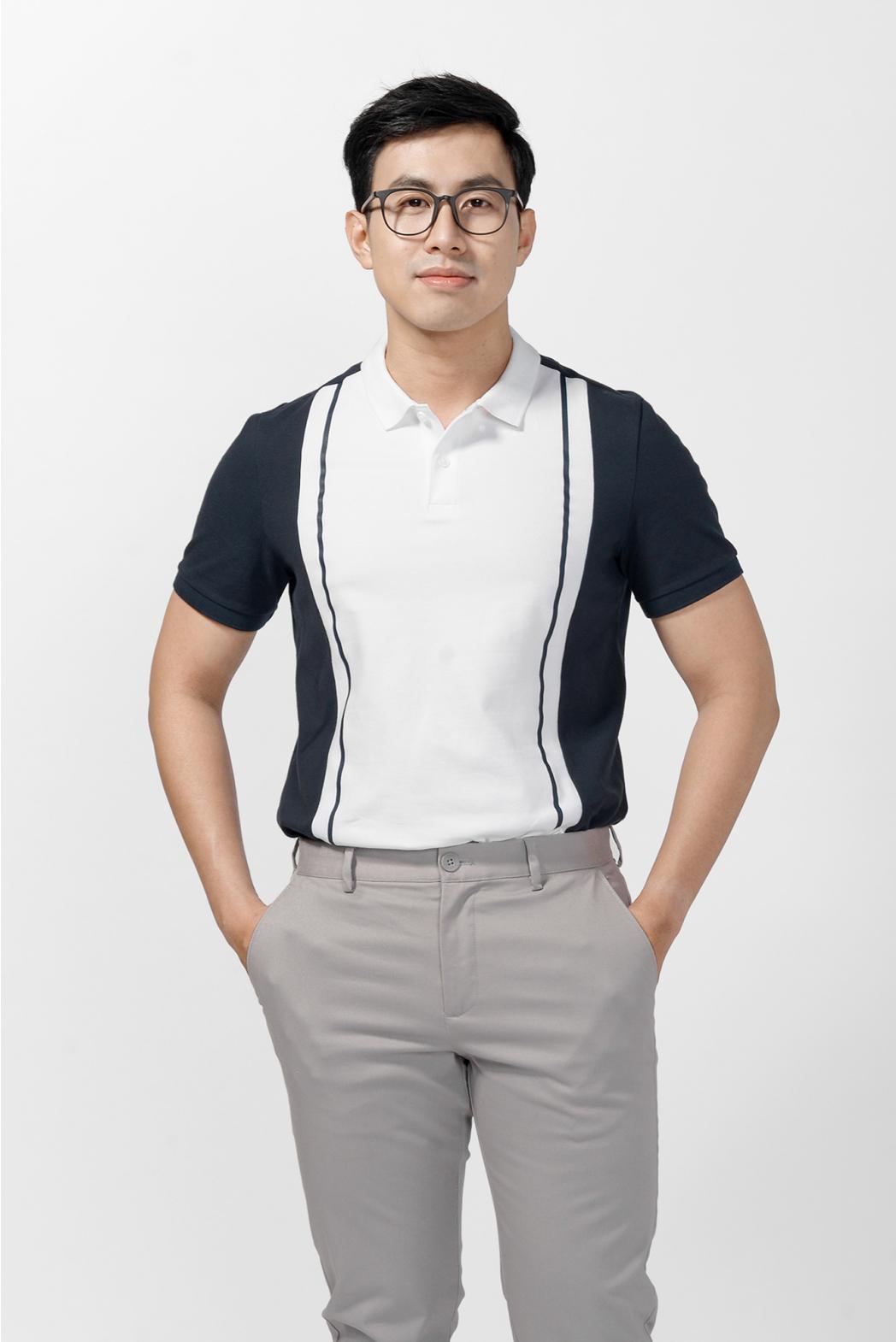 Áo Polo phối màu, có in. FITTED form - 10F20POL018