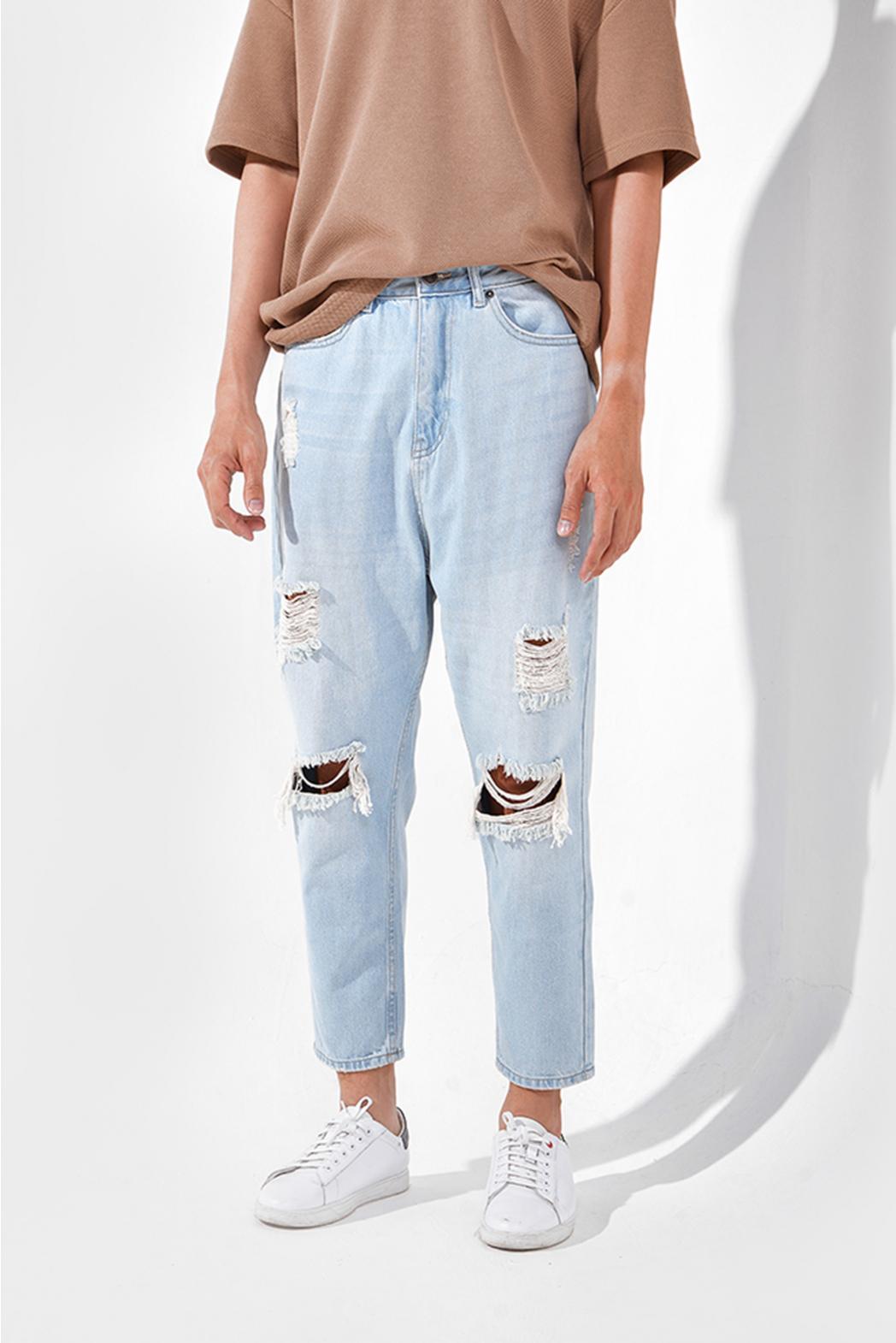 Indigo. Loose jeans rách DNP15-F19-01 - QJ228002